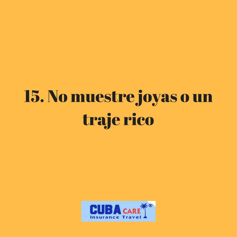 Consejos para viajar a Cuba: no muestre joyas o un  traje rico